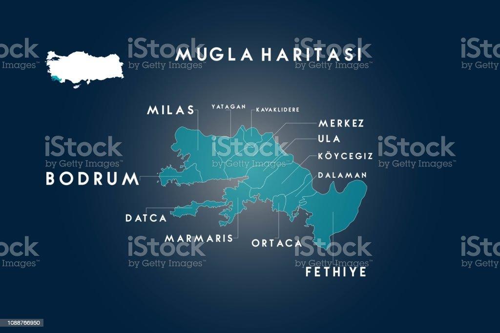Bodrum Karte.Distrikte Von Mugla Bodrum Dalaman Datca Fethiye Kavaklidere