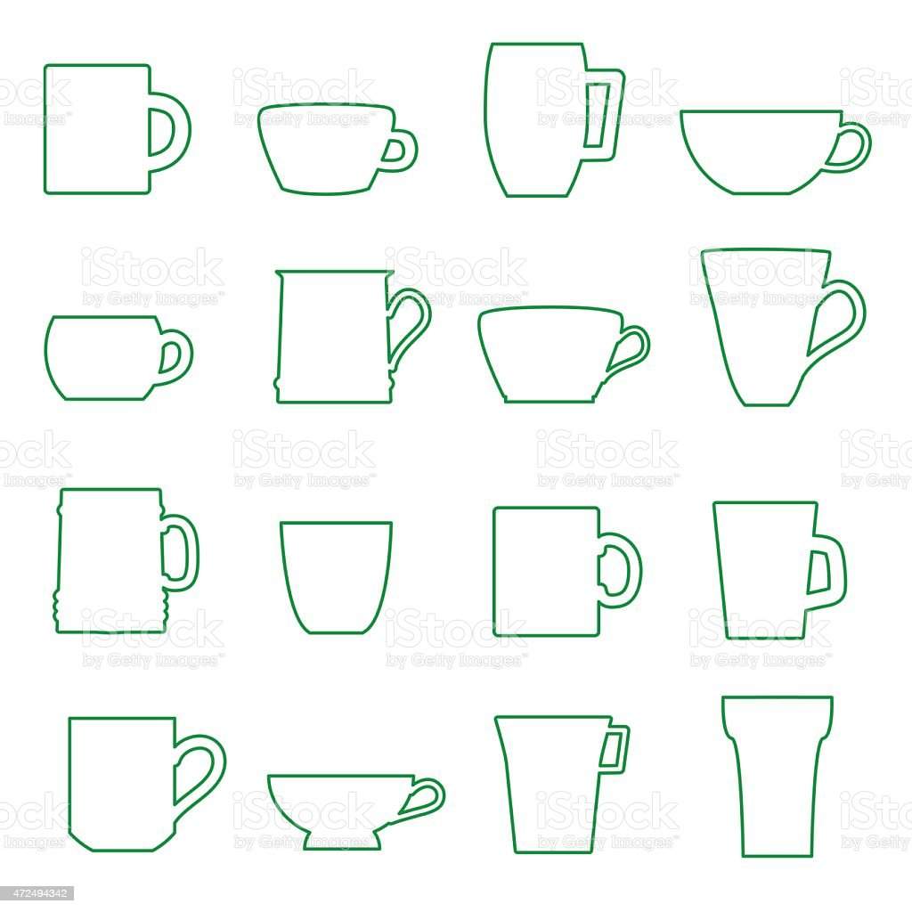 mugs and cups black outline icons set eps10 vector art illustration
