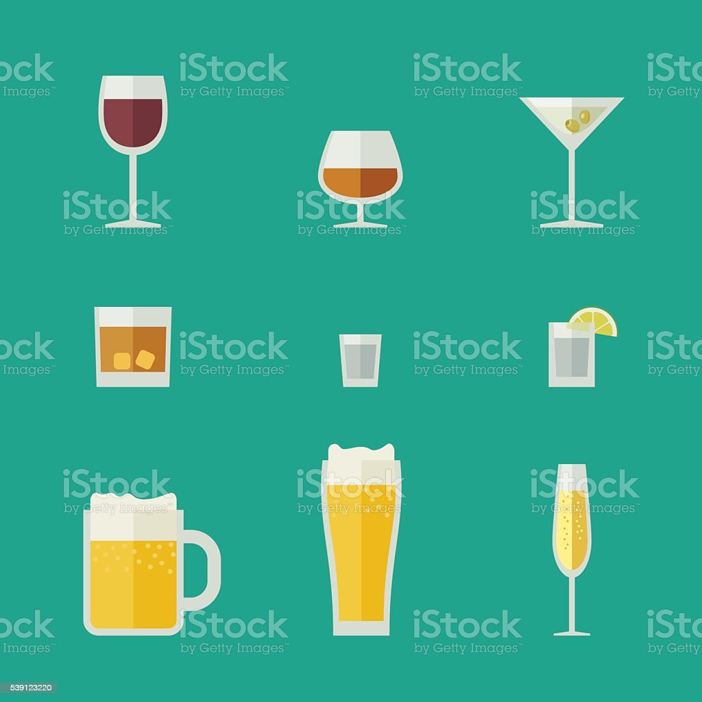 Mugs and glasses icons. vector art illustration