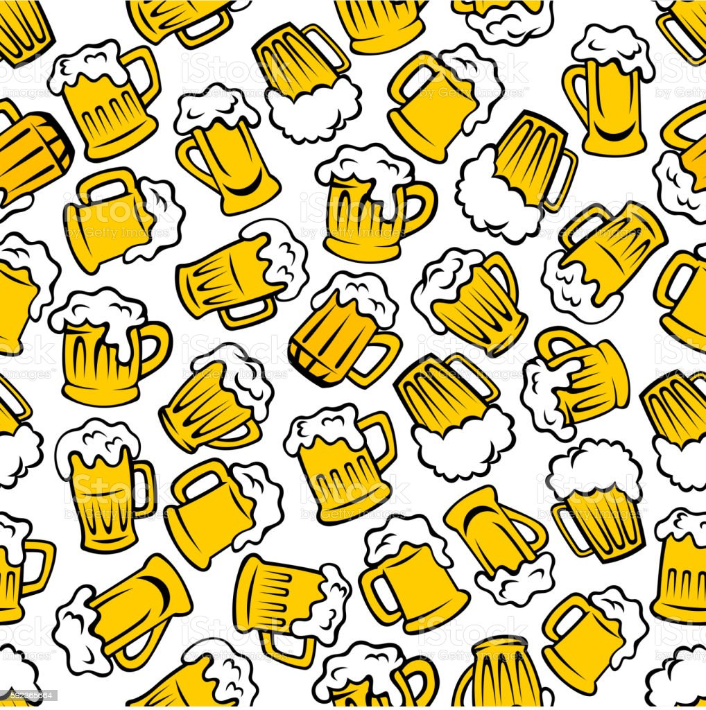 Mugs of beer, lager, ale drinks seamless pattern vector art illustration