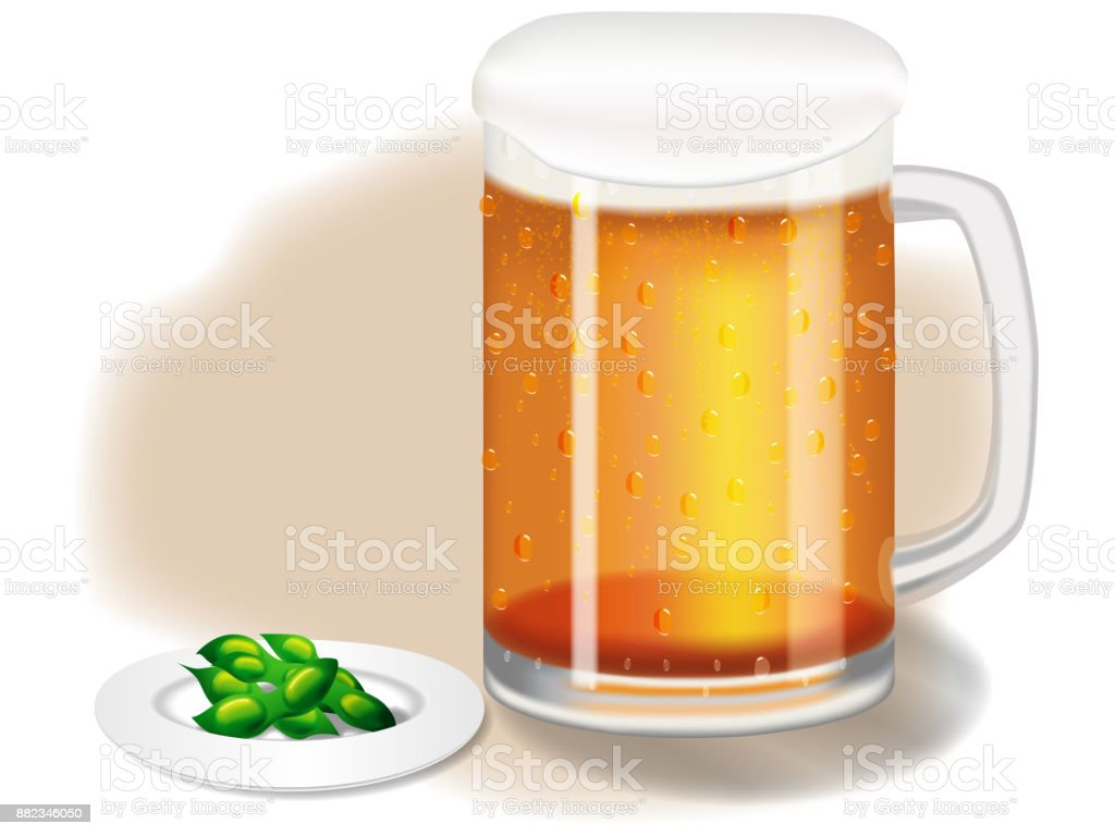 Mugs with beer and snacks vector art illustration