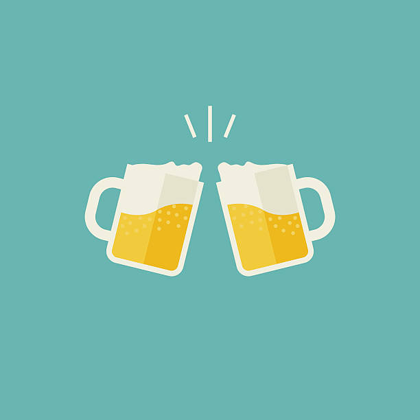 mugs with beer - happy hour stock illustrations, clip art, cartoons, & icons