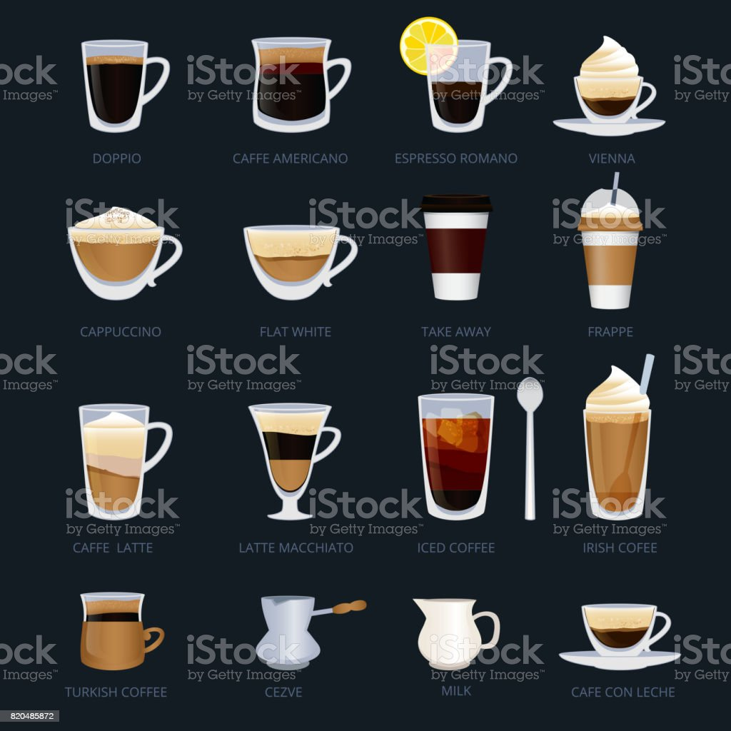Mugs with different type of coffee. Espresso, cappuccino, macchiato and others. Vector illustrations set in cartoon style vector art illustration