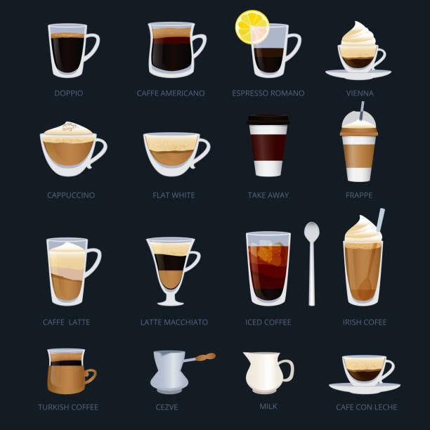 ilustraciones, imágenes clip art, dibujos animados e iconos de stock de tazas con diferentes tipos de café. espresso, cappuccino, macchiato y otros. ilustraciones de vectores en estilo de dibujos animados - café bebida