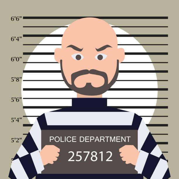 mugshot criminal line with centimeter scale background. vector illustration mugshot criminal line with centimeter scale background. vector illustration mug shot stock illustrations