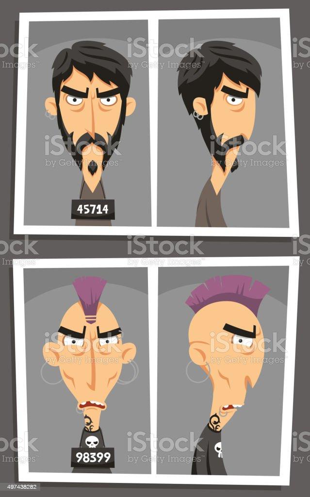 Mugshot mugger booking photograph at police station vector art illustration