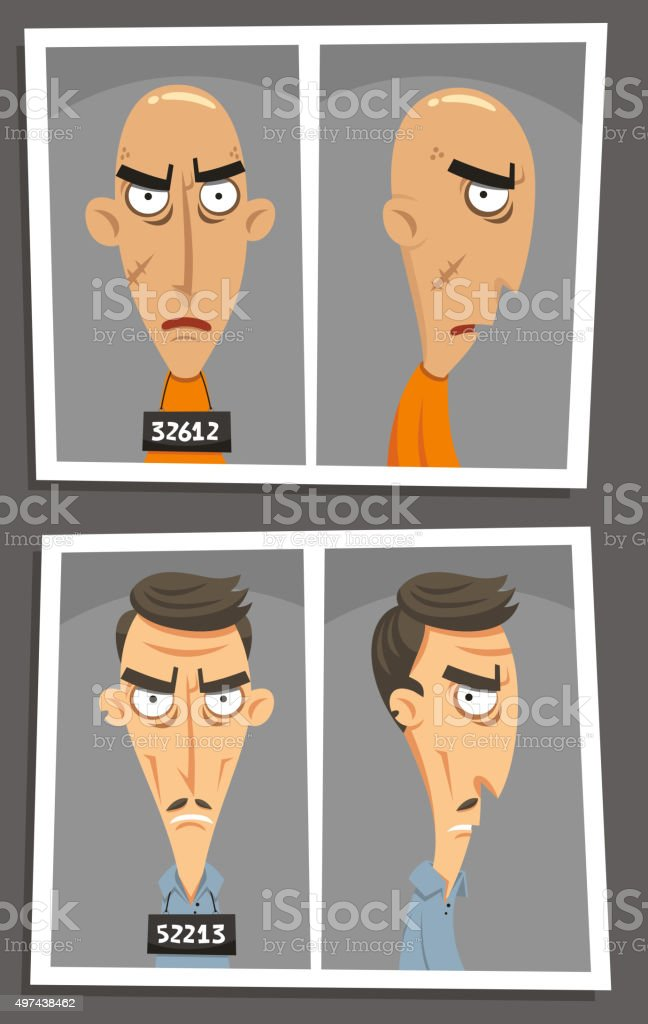 Mugshot mugger booking photograph vector art illustration