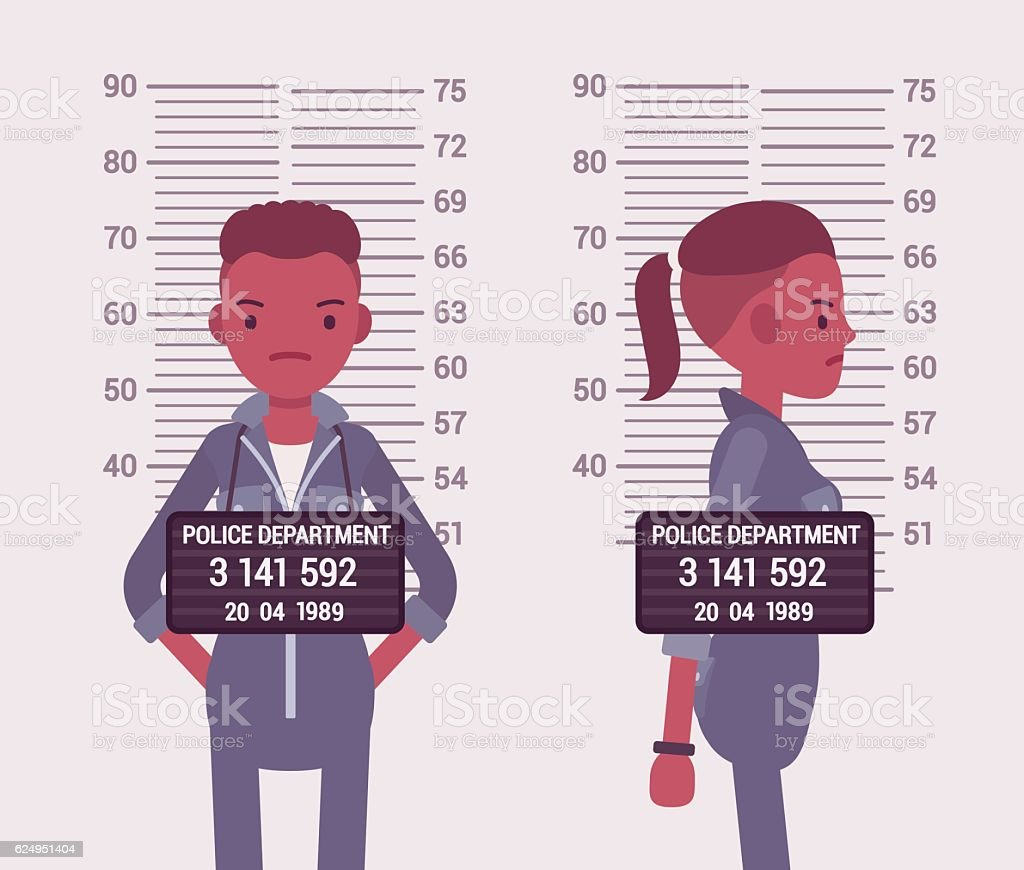 Mugshot of a young black woman vector art illustration