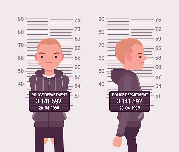 Mugshot of a young white man Mugshot of a young white man taken after arrest. Cartoon vector flat-style concept illustration mug shot stock illustrations