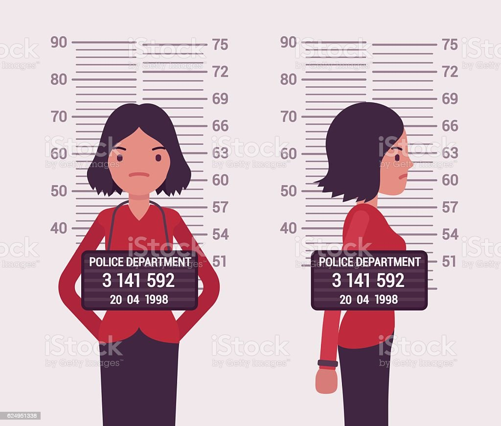 Mugshot of a young white woman vector art illustration