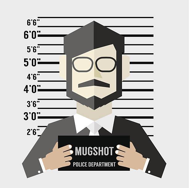 Mugshot Of Businessman Vector Illustration Mugshot Of Businessman Vector Illustration mug shot stock illustrations