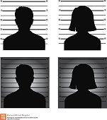 Mugshot or police lineup picture of anonymous man and woman silhouette