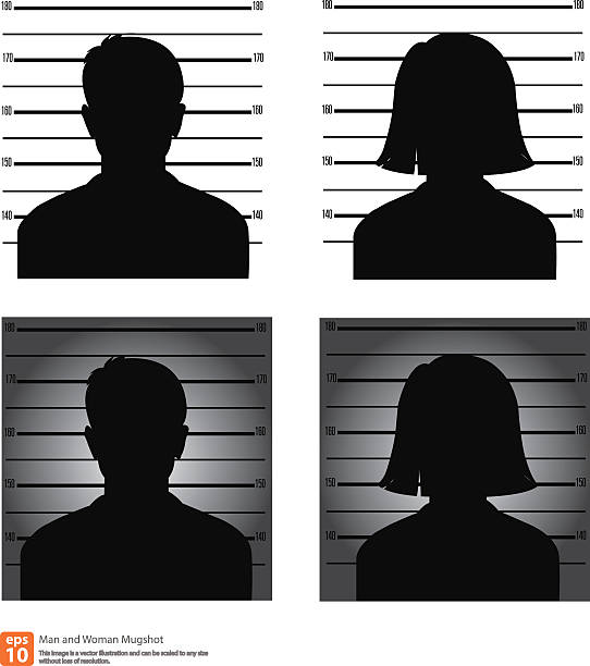 Mugshot Mugshot or police lineup picture of anonymous man and woman silhouette mug shot stock illustrations