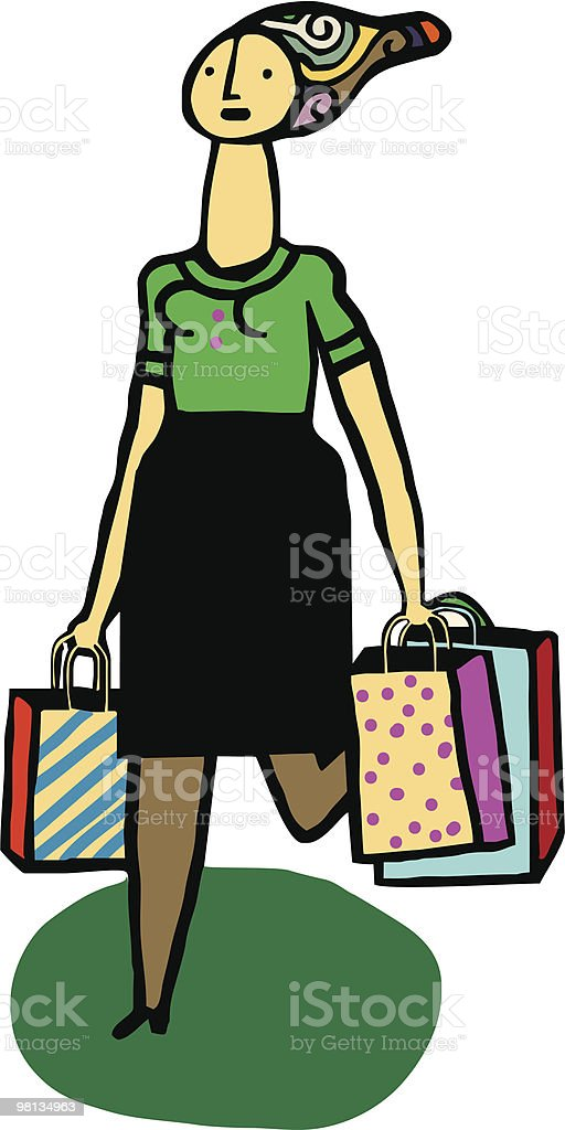 Mujer camina con bolsas de compras royalty-free mujer camina con bolsas de compras stock vector art & more images of adult
