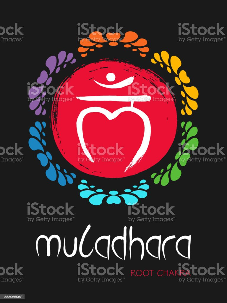 Muladhara chakra symbol on a red hand drawn brush circle sun, vector zen illustration. The Root Chakra with lotus flower ornament vector art illustration