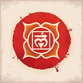 Vintage Watercolour Chakra Symbol 1 Muladhara. The Muladhara Chakra in the middle of a 4-petaled Lotus flower. Muladhara is related to instinct, security, survival and also to basic human potentiality.