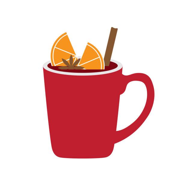 stockillustraties, clipart, cartoons en iconen met warme wijnstok met schijfje sinaasappel en kaneel - gluhwein