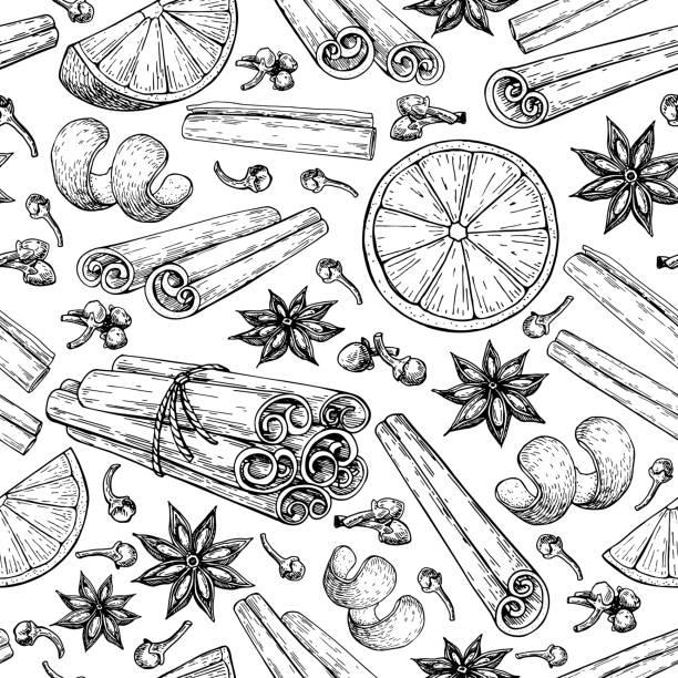 ilustraciones, imágenes clip art, dibujos animados e iconos de stock de ingradients vino caliente de patrones sin fisuras. canela en rama había atado manojo, estrellas de anís, naranja, clavo de olor. - clavo especia