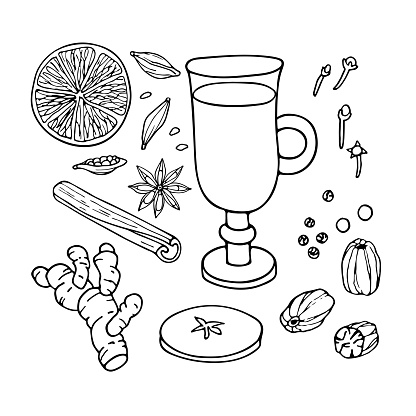 Mulled wine ingredients set. Hand drawn Winter elements. Doodle Outline vector illustration. Hot winter drink recipe. Organic product sketch. Christmas drinking. Flavor cooking ingredient.