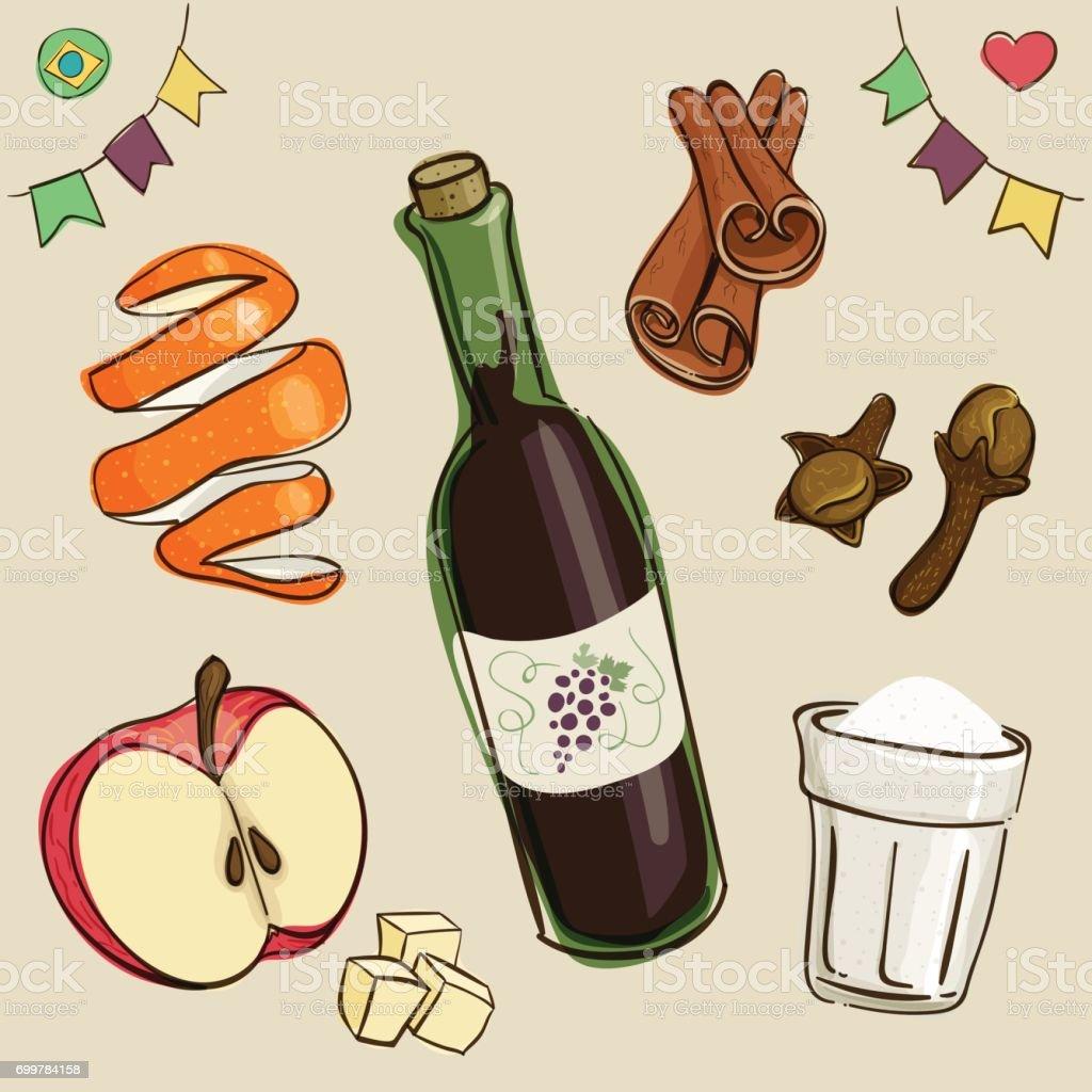 Mulled wine ingredients: wine, sugar; chopped apples; orange peel; cinnamon and dry cloves.