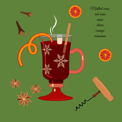 Mulled wine recipe in special glass. Anise, cinnamon stick,orange slices  and other ingredients for better taste and aroma of punch or grog.Hot drink for Christmas and New year party.