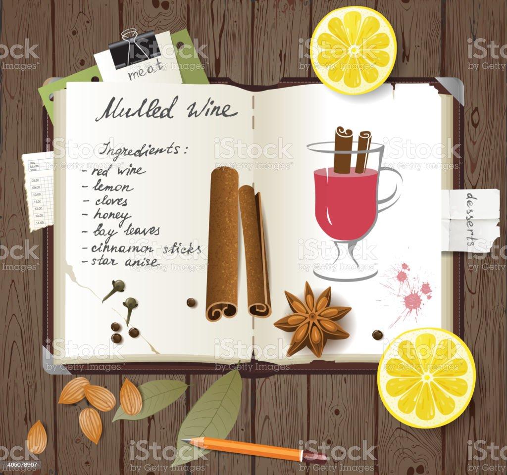 mulled wine recipe vector art illustration