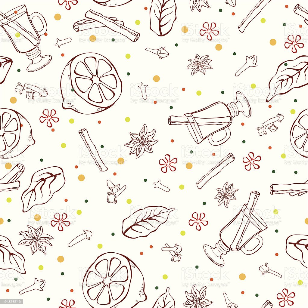 Mulled wine seamless pattern royalty-free stock vector art