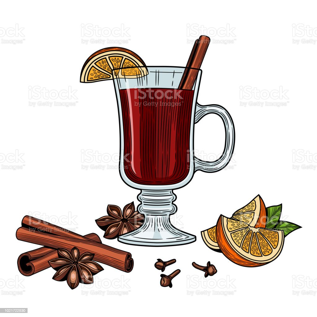 Mulled wine. vector art illustration