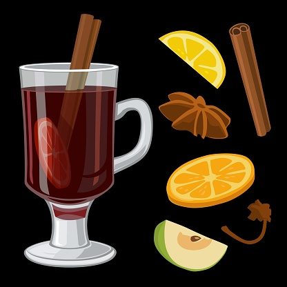 Mulled wine with glass of drink and ingredients. Vector flat illustration for greeting card, invitation, banner and poster.