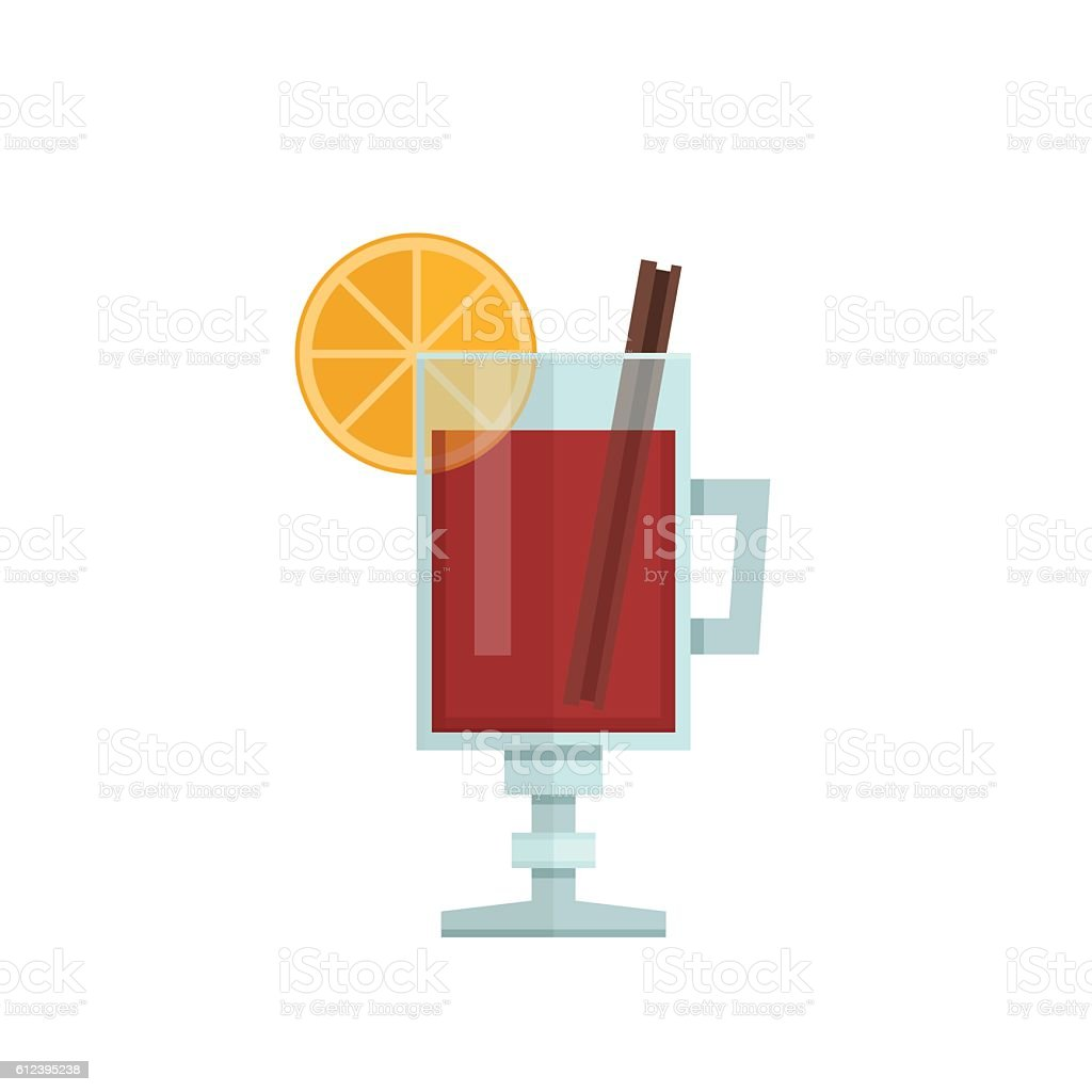 Mulled wine with orange slice and cinnamon stick. vector art illustration