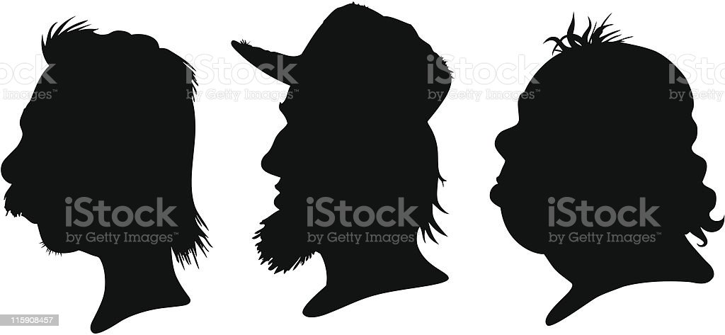 mullet silhouettes stock vector art more images of bangs 115908457 rh istockphoto com Mullet Drawing Mullet Outline