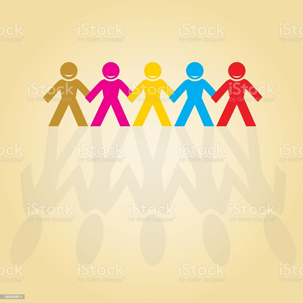 multi color happy people holding hands vector art illustration