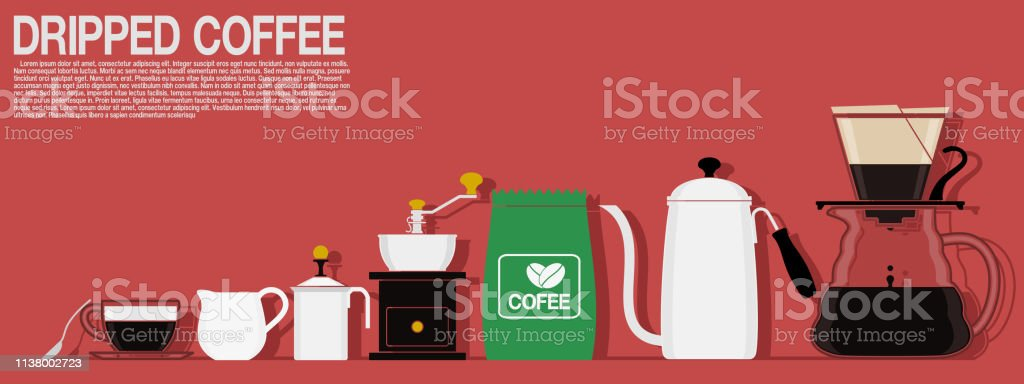 Multi color icon of dripped coffee equipment