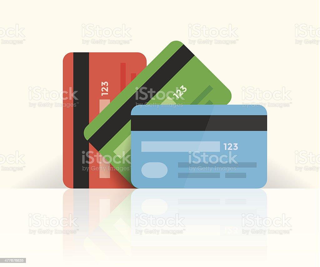 マルチカラーのクレジットカードに反射 ベクターアートイラスト