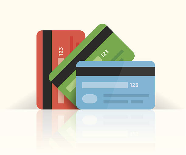 multi colored credit cards with reflection - credit cards stock illustrations, clip art, cartoons, & icons