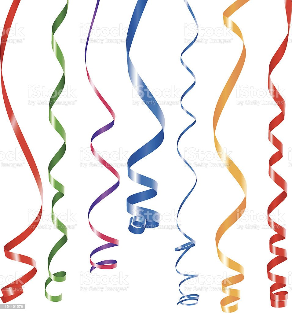 Multi colored curling ribbon vector art illustration