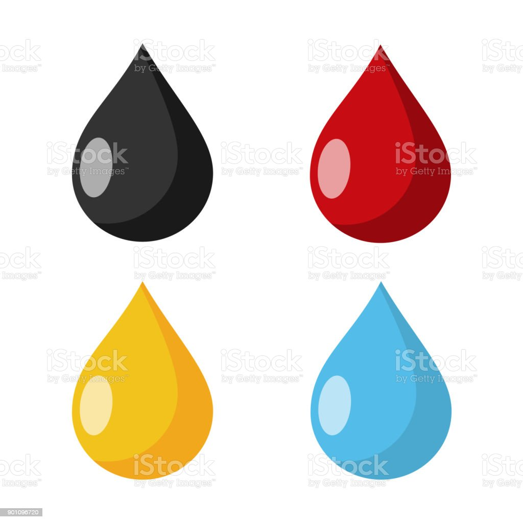 multi colored Drops Flat Design vector art illustration
