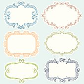 Set of six different hand drawn frames.  Hi res jpeg included. Scroll down to see more illustrations and elements.