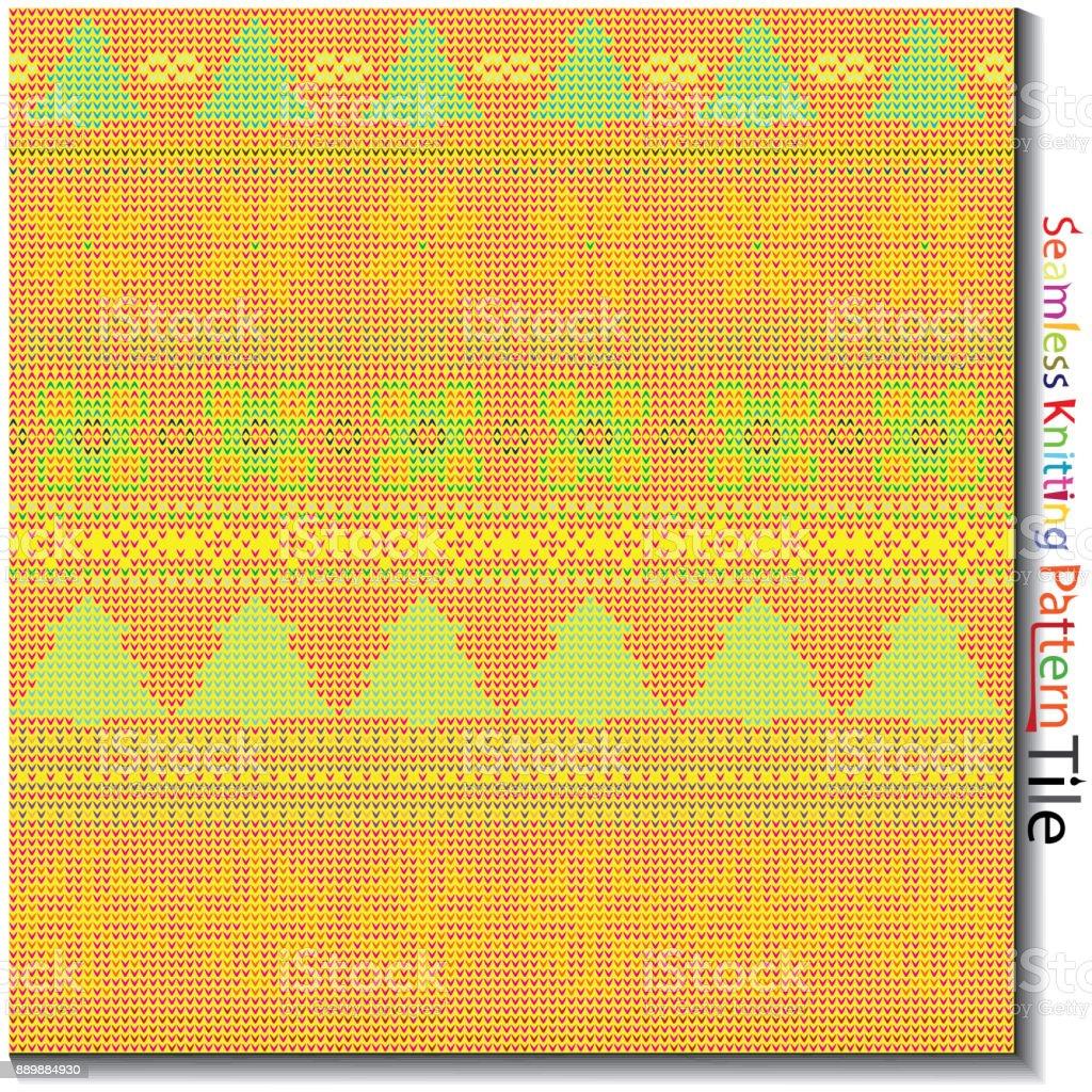 Beautiful multi colored seamless knitting pattern tile with...