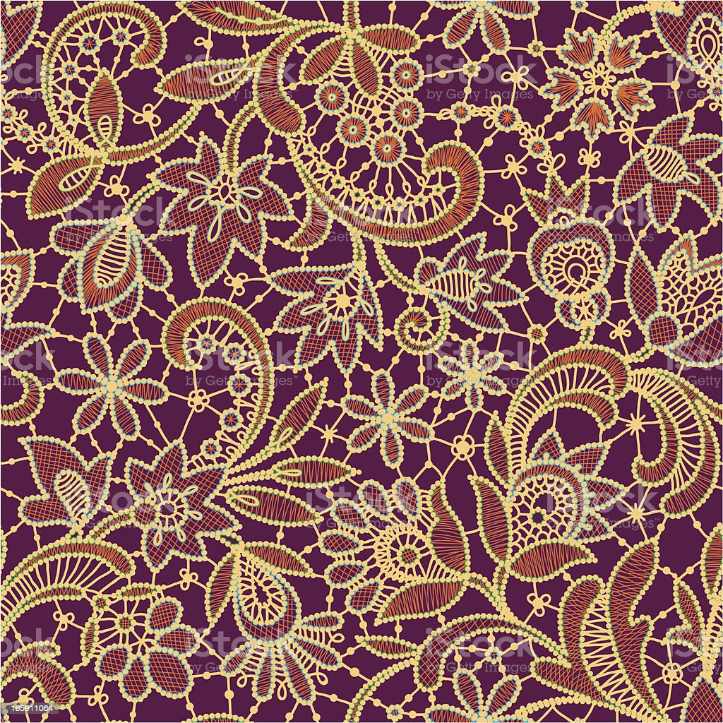 Multi Colored Lace Seamless Pattern. Purple Background. royalty-free multi colored lace seamless pattern purple background stock vector art & more images of backgrounds