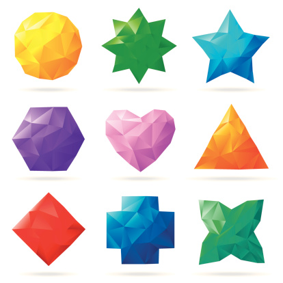 Multi colored polygonal shapes