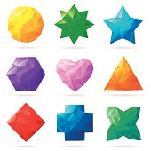 Set of colorful shapes made from triangles.