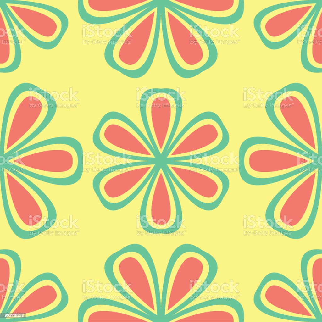 Multi colored seamless floral background. Pink blue green and yellow pattern - Royalty-free Abstract stock vector