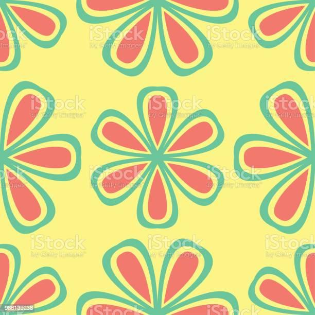Multi Färgade Sömlös Blommig Bakgrund Rosa Blå Grön Och Gul Mönster-vektorgrafik och fler bilder på Abstrakt