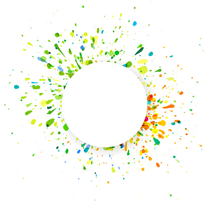 Multi colored splash with empty space on white background