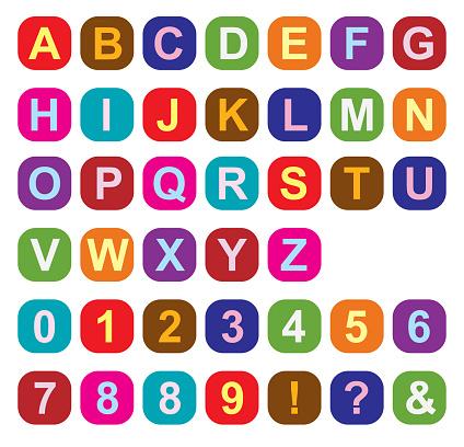 Multi Colored Squares Alphabet