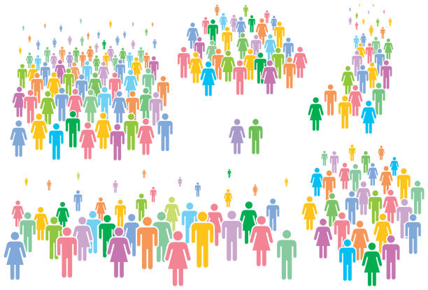 Multi colored vector illustration of group of stylized people. People icons – man and woman. crowd of people stock illustrations
