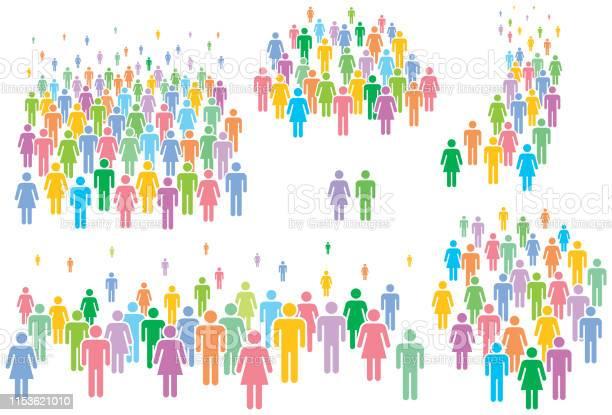 定型化された人々のグループの多色ベクトルイラスト - つながりのベクターアート素材や画像を多数ご用意