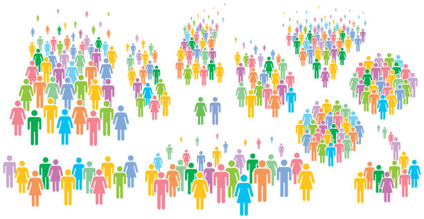 multi colored vector illustration of group of stylized people. - old man stick figure silhouette stock illustrations, clip art, cartoons, & icons