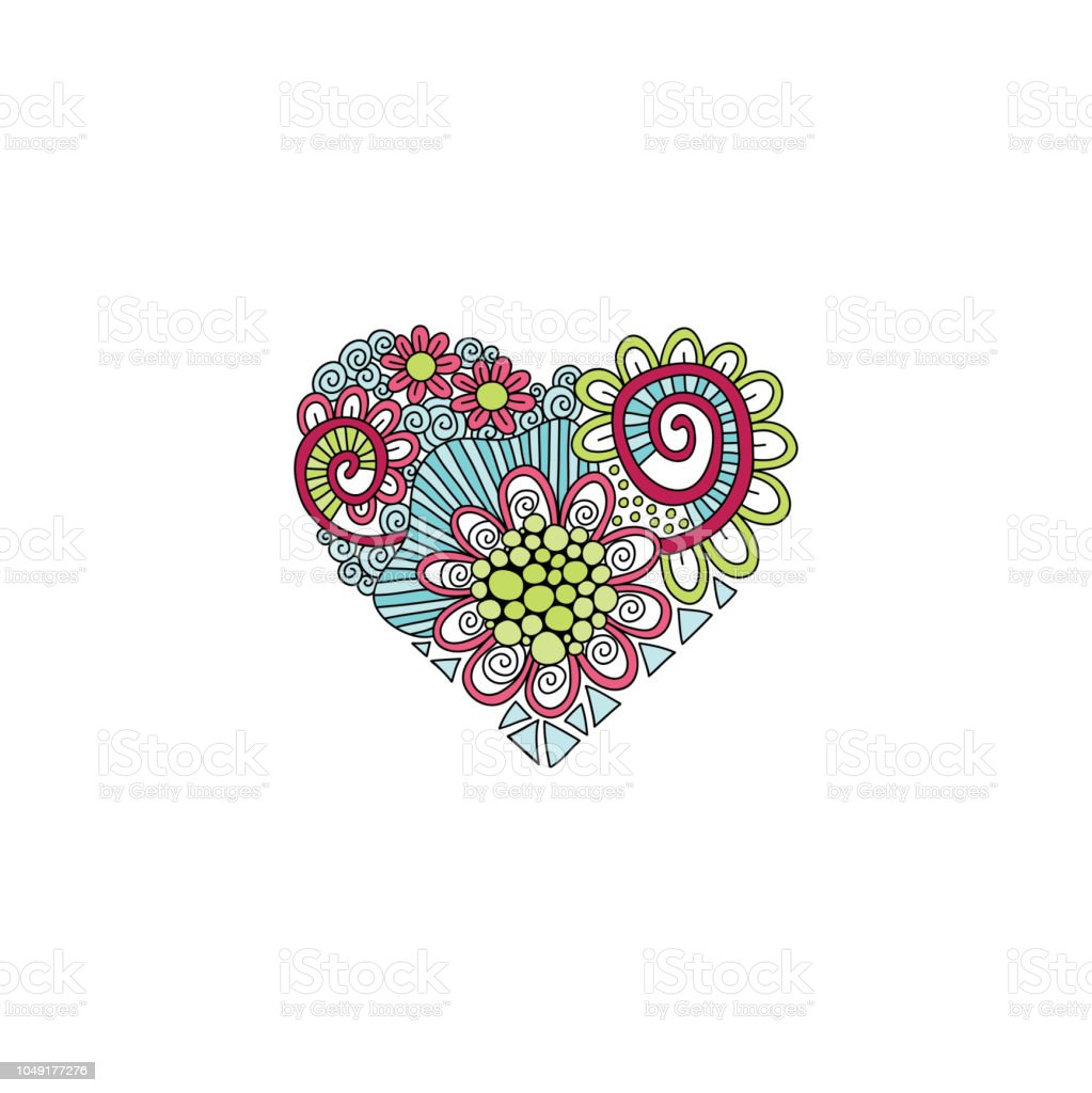 Multi Colour Heart Doodle Hand Drawn Vector vector art illustration